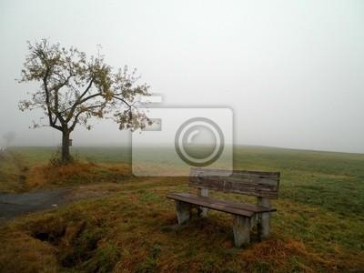 Bench im Nebel