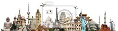 Sticker Bereisen Sie die Welt Denkmäler Konzept