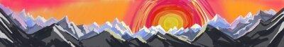 Sticker Berg Sonnenaufgang oder Sonnenuntergang, digitale abstrakte Malerei der schroffen Bergkette mit riesigen bunten Sonneneinstrahlung oder steigend, Website-Kopf-oder Fußzeile