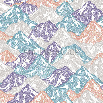 Sticker Berge nahtlose Muster. Spaßgebirgskinderabbildung. Vektor-illustration