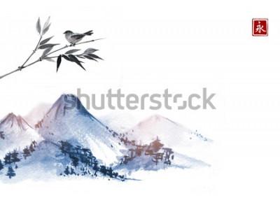 Sticker Berge und kleiner Vogel auf Bambuszweig. Hieroglyphe - Ewigkeit. Traditionelle orientalische Tuschemalerei sumi-e, u-sin, go-hua.