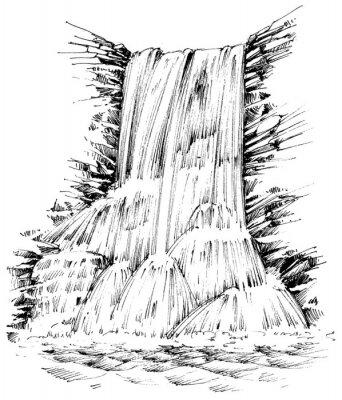 Sticker Berge Wasserfall grafische Darstellung