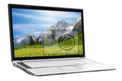 Sticker Berglandschaft auf Laptopbildschirm