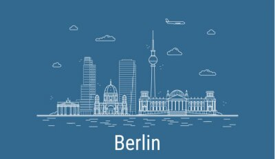 Berlin city, Line Art Vector illustration with all famous buildings. Linear Banner with Showplace. Composition of Modern cityscape. Berlin buildings set.