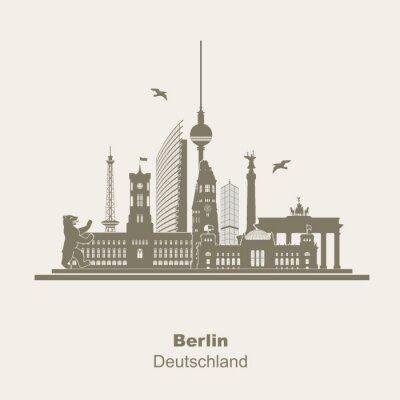 Sticker Berlin Silhouette Logo Umriss Schattenriss Fernseturm Funkturm Berliner Bär, Sightseeing, Brandenburger Tor Rotes Rathaus Potzdamer Platz Siegessäule Gedächtniskirche Reichstag