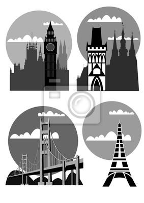 berühmte Städte und Orte - Vektor