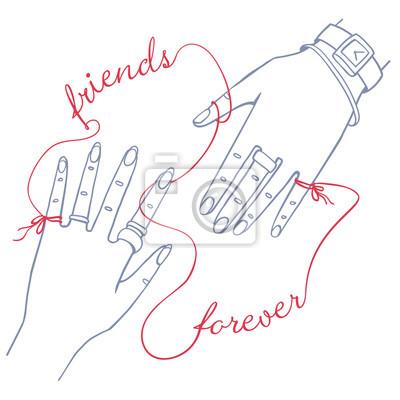 Beste Freunde für immer. Zwei Hände, die durch die rote Schnur verbunden sind.