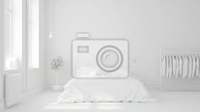 Sticker Bett vor Wand in Schlafzimmer
