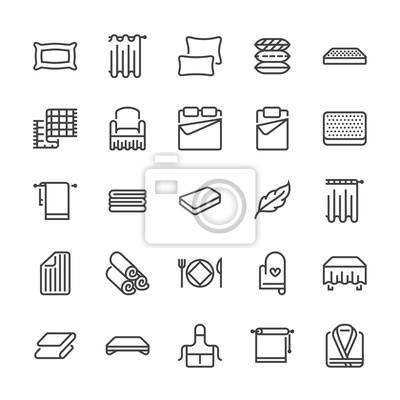 Sticker Bettwäsche Isoelektrisches Symbole. Orthopädische Matratzen, Bettwäsche, Kissen, Bettwäsche, Decken und Bettdecken Illustrationen. Dünne Schilder für den Innenausbau. Pixel perfekt 48x48.
