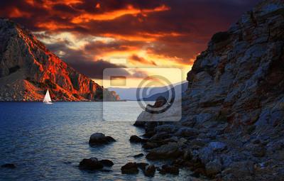 Bewölkt Sonnenuntergang in Marmaris