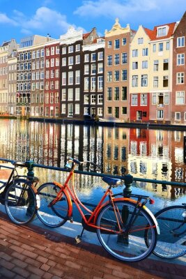 Sticker Bicycles along canals with reflections, Amsterdam, Netherlands