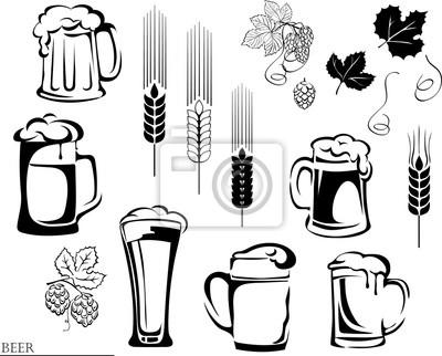 bier bierkrug hop vektor illustration elemente der grafischen notebook sticker. Black Bedroom Furniture Sets. Home Design Ideas
