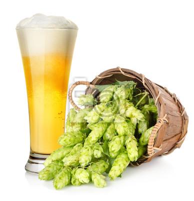 Bier und Hopfen im Korb