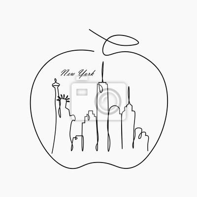 Big apple New york city skyline with statue of liberty, vector illustration.