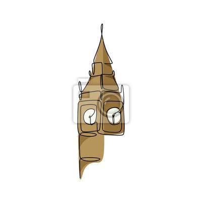 Big Ben clock tower continuous line drawing minimalist design vector illustration