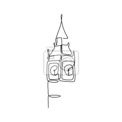Big Ben clock tower continuous one line drawing minimalist design vector illustration