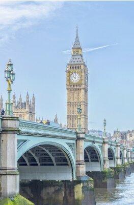 Sticker Big Ben mit Westminster Brücke und Themse in London