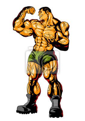 Big Bizeps Muskel des groben Mannes, Vektor, Illustration, Logo, die Farbe, lokalisiert auf einem Weiß