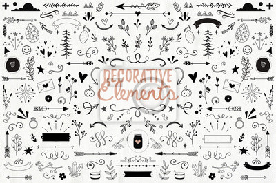 Sticker Big collection of decorative elements: banners, arrows, leaves, flowers, flourishes