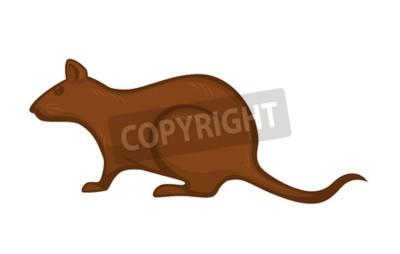 Big Ratte mit glatten braunen Pelz isoliert Cartoon Vektor-Illustration auf weißem Hintergrund. Wildes, schmutziges Tier Wrecker mit scharfen Zähnen und langen haarlosen Schwanz, der Krankheiten ausbr