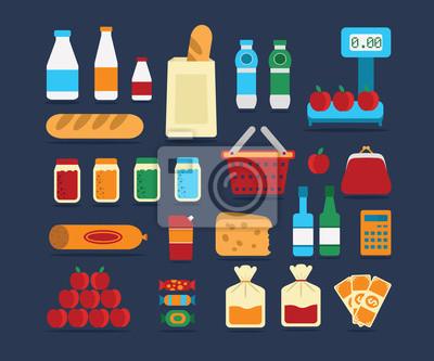 Big set of food products. Vector.