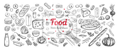Sticker Big vector set of healthy food ingredients. Hand drawn sketches. Isolated objects