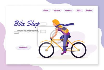 Bike Shop flat vector landing page template