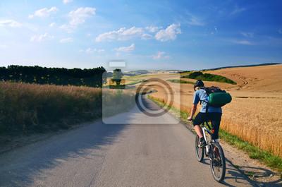 Biker Reiten auf Fahrradstraße durch Sommer landwirtschaftliche Felder, die voller Gold Weizen