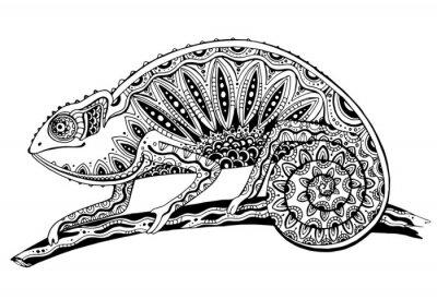 Sticker Bild von Schwarz-Weiß-Chamäleon Eidechse in Tattoo Stil