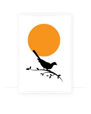 Bird Silhouette on branch on sunset, Vector. Wall decals, art decoration, wall decor, artwork. Bird Silhouette on branch isolated on white background