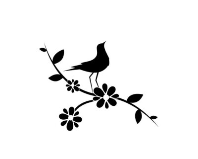 Bird silhouette on branch with flowers, vector. Minimalist wall decals, wall artwork. Wall art decoration. Bird silhouette on branch isolated on white background. Black and white art design