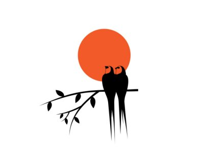 Birds couple silhouettes on branch on sunset, vector. Swallow birds silhouettes on branch isolated on white background, illustration. Wall Decals, Wall Art Decoration. Wall artwork