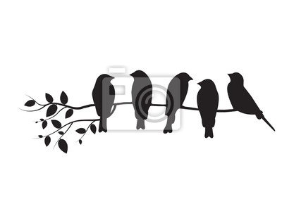 Birds On Branch Illustration, Birds on Tree Design, Birds Silhouette, Wall Decals. Art Design, Wall Design. Isolated on white background