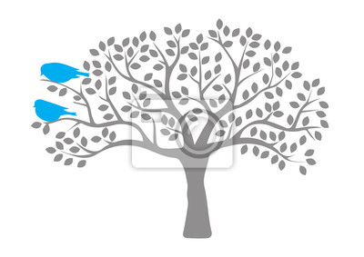 Birds On Tree, Birds on Branch, Birds Silhouette, Colorful Birds, Art Design, Wall Art, Wall Decals. Isolated on white background
