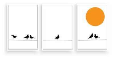 Birds on wire on sunset, vector. Scandinavian minimalist art design. Birds silhouettes isolated on white background. Three pieces poster design. Wall decals, modern wall art work
