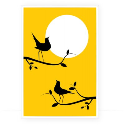 Birds Silhouettes on Branch on sunset, Vector. Birds couple silhouette on branch isolated on yellow background, illustration. Wall Decals, Wall Art Decoration. Wall artwork. Romantic poster design