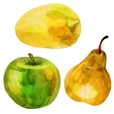 Sticker Birne, Banane Hand gezeichnet Malerei Aquarell Illustration auf weißem Hintergrund