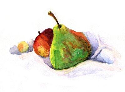 Sticker Birne und Apfel, Aquarell