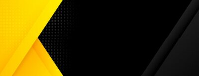 Sticker black banner with yellow geometric shapes