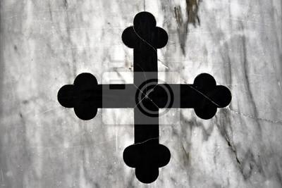 Black Church Cross, altes original griechisches Kreuz aus schwarzem Marmor, eingelegter weißer Marmor