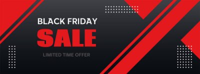Sticker Black Friday sale banner. Vector long abstract template for seasonal discount