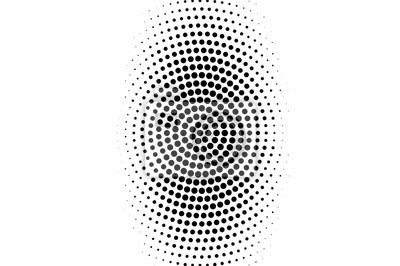 Sticker Black on white oval halftone texture. Rough dotwork gradient. Distressed dotted vector background.