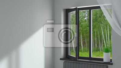 Sticker Black plastic window in the room
