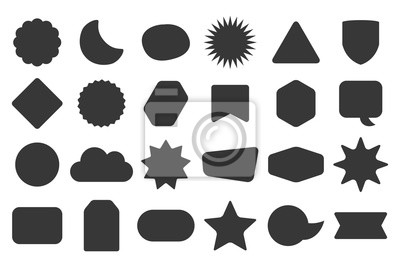 Sticker Black silhouette and isolated random shapes empty sticker labels icons set on white background