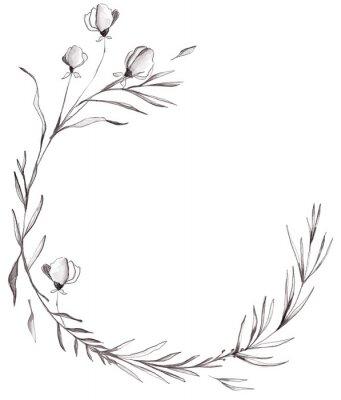 Black White Watercolor Floral Wreath