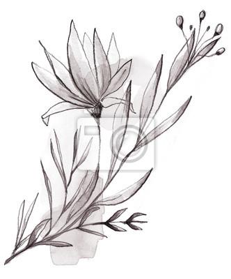 Black White Watercolor Floral Wreath, Floral Bouquet, Flower Ribbon, Sprig, Blossom