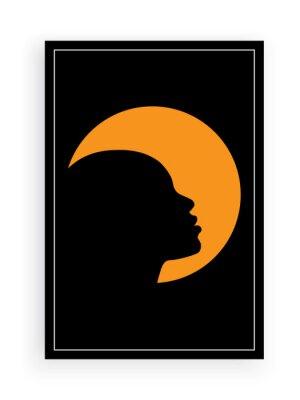 Black woman silhouette on full moon, vector. Minimalist art design. Wall decals, art decor, artwork. Modern poster design in frame. Woman face silhouette illustration