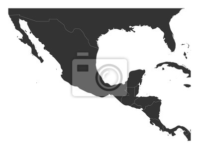 Sticker Blank political map of Central America and Mexico. Simple dark grey vector illustration.