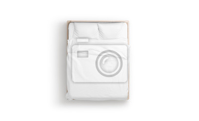 Sticker Blank white bed mock up, top view isolated, 3d rendering. Empty blanket and pillows mockup in bedstead. Doss with mattress and bedsheet in place for sleep template. Bedclothes with pilows and duvet.
