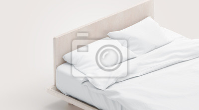 Sticker Blank white bed with pillows mock ups, isolated, 3d rendering. Empty tucked doss with pilow and duvet mockup. Clear blanket and pillowcases in bedstead template. Bedclothes in place for sleep.
